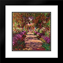 Path in Monets Garden Giverny 20x20 Black Modern Frame and Double Matted Art Print by Monet, Claude