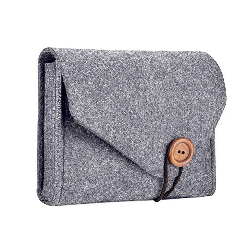 ProCase Felt opbergkoffer tas, draagbare Travel Electronics Accessoires Organizer tas voor MacBook Laptop Mouse Power Adapter Kabel Power Bank mobiele telefoon accessoires oplader SSD HHD Storage Pouch grijs