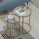 Tavolino da caffè Tavolini Set di 2 tavoli laterali Gambe trasparente temperato Vetro Top tavolo in ferro moderno impilabile Tavolino for comodini caffè .Piccoli tavolini da caffè