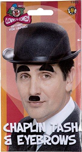 Smiffys - Charlie Chaplin Bart und Augenbrauen Kostüm Karneval Schnurrbart Bärte