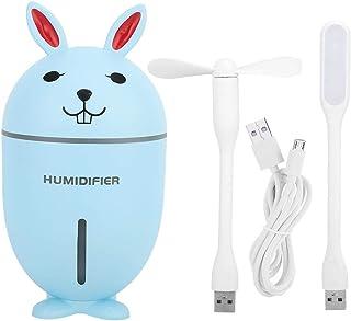 Fdit - Humidificador 3 en 1, Multifuncional, luz Nocturna, con Mini Ventilador, Cable USB, Apagado automático, ABS en Forma de Conejo