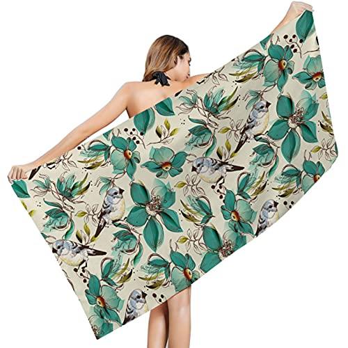 LCK Toalla de Playa con Estampado de Flores para Mujer, Batas de baño, Toalla para Vestir, Vestido para Mujer, Dama