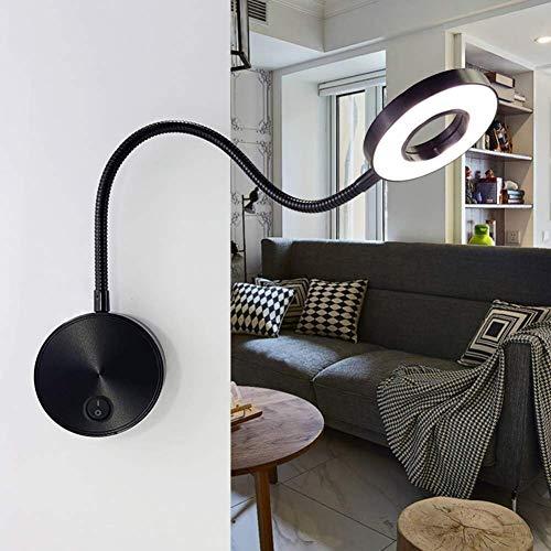 LLLKKK Lámpara de pared LED Gooseneck de 5 W, ángulo ajustable fijo, tubo flexible para dormitorio, luz de lectura de 40 cm, interruptor negro con blanco cálido