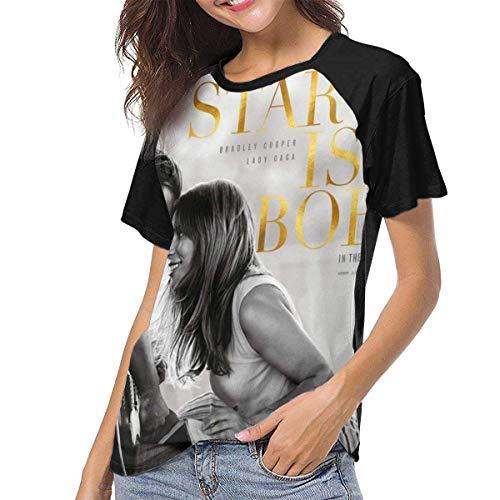 fffdaww Lady Gaga A Star is Born Femmes's Manche Courte Col Rond Fashion Baseball Tee VintageBlack