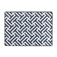 非常にソフトなモダンエリアのカーペット、リビングルームのカーペットと寝室のカーペット、子供部屋のクローリングマット、青と白の線 の模様入り家の装飾用カーペット (203 X 148 Cm)