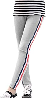 Howely Little Girls Kids Active Stretchy Striped Cotton Cropped Capris Tights