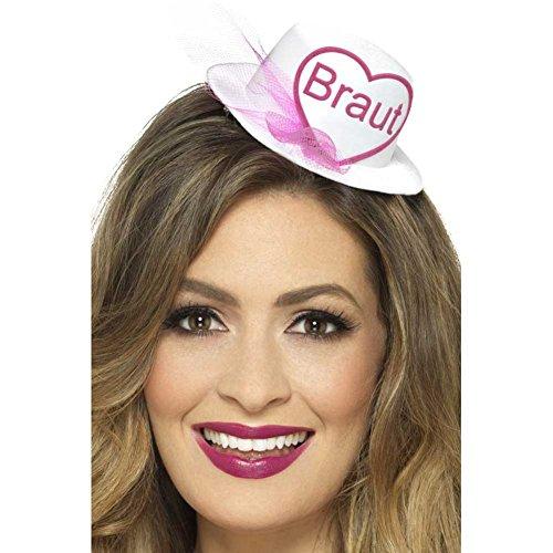 Braut Hut Hütchen Fascinator, weiß mit Herz und Schrift in pink, angedeuteter Schleier, mit Haarclip