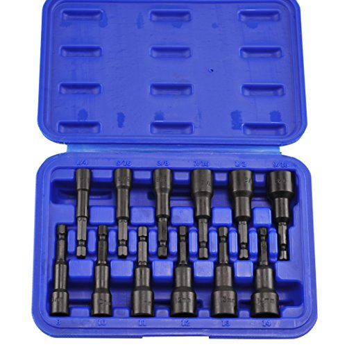 Neiko 10250A Magnetic Hex Nut Driver Master Kit, Cr-V Steel | 1/4' Quick-Change Hex Shank | SAE & Metric | 12-Piece Set