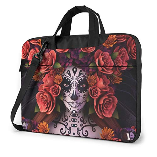 Day of The Dead Sugar Skull Laptop Bag Briefcase Shoulder Mesenger Bag for Women Men 14 Inch