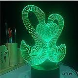 MRQXDP Belle 3D Douce Double Baiser Nage Décoration Ambiance LED 7 Changement de Couleur Lampe de Table De Nuit Romantique Cadeau de Saint Valentin Abajur