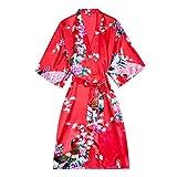 Kimono Yukata Style Japonais Robe CourteFemme Sommeil Nuit Porter Maillot De Bain Pyjama En Soie Chinoise Orientale, Rouge, L