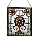 Makenier Vintage Art Nouveau Tiffany Style Stained Glass Red Flower Window Hanging Window Panel Widnow Pane Window Wall Decor Decoration
