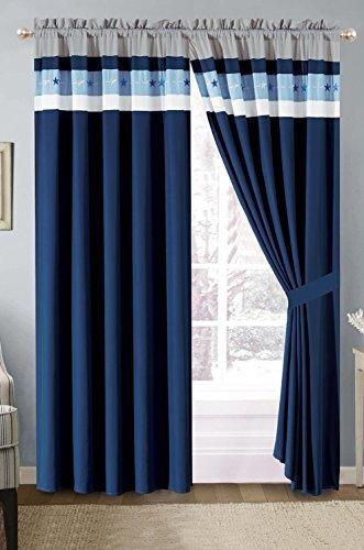 "Grand Linen Modern Light Blue, Navy, Grey Pin Tuck Texas Lone Star Grommet Curtain Set 116"" Wide X 84"" Long (2 Pieces of 58"" X 84"" Panels)"