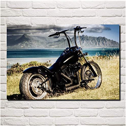 schöne Chopper Motorrad Motorrad Tapete Wohnzimmer Schlafzimmer Home Wand Moderne Kunst Dekor Poster Druck auf Leinwand -60x90cm No Frame