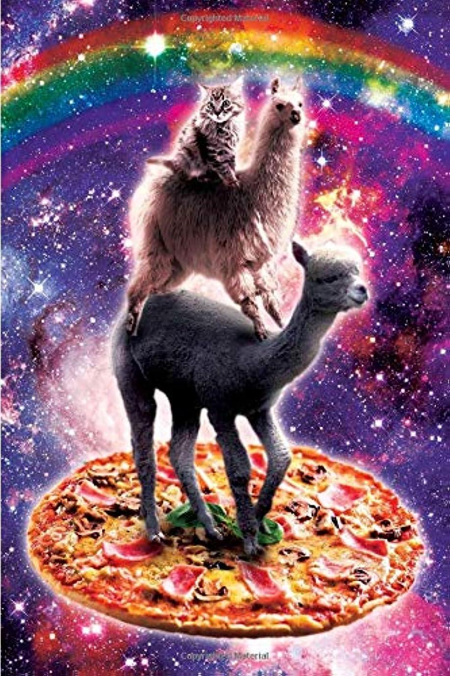 殺しますアマチュア共感するSpace Cat Llama Alpaca Riding Pizza Daily Weekly Planner