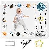 LUKA&LILY Baby Monthly Milestone Blanket Boy | Milestone Blanket Baby Boy | Moon and Stars Baby Shower | Baby Milestone Blanket | Space Nursery Decor | Moon Blanket Baby Boy Gifts | Bib+Frames 50x40
