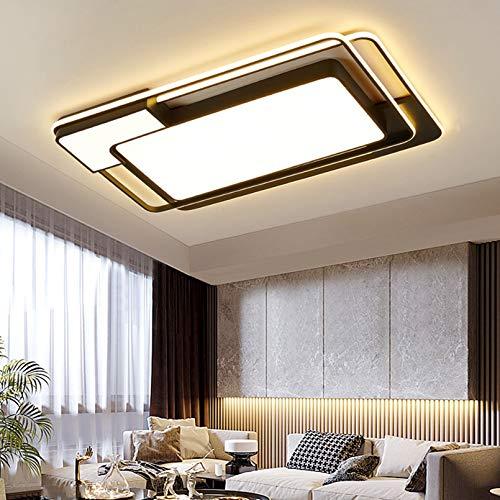 WENY LED Contemporáneo Lámpara De Techo Regulable Cuadrado Plano Negro Habitación Lámpara De Techo Sala Cuarto Lámpara De Techo De Candelabros,95x63x6cm