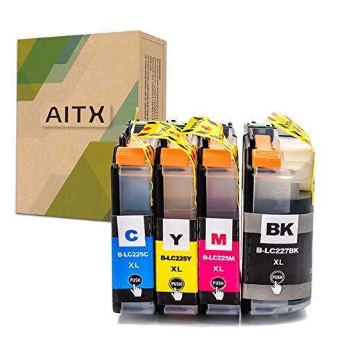 AITX LC227XL LC225 XL Cartuchos de Tinta Compatible con Brother MFC-J4420DW J4620DW J4625DW DCP-J4120DW, para Brother LC227XLBK LC225XLC LC225XLM LC225XLY LC229XLVALBP (Negro, Amarillo, Magenta, Cian)