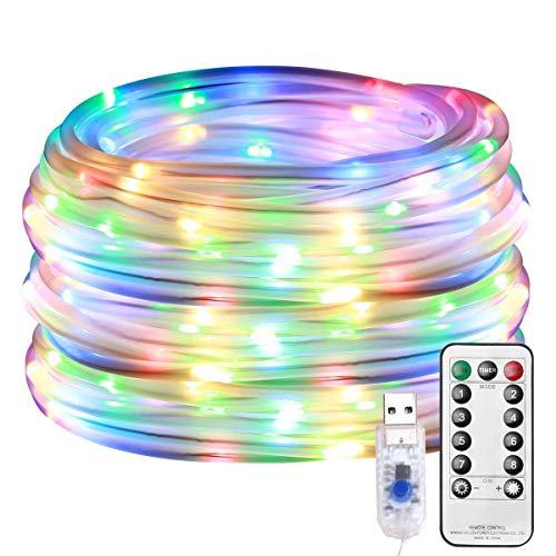 LE Guirlande Tube Lumineuse LED 10m, Tube Lumineux Extérieur RGBY USB Étanche IP65, 8 Modes Télécommande, avec Minuterie et Fonction de Mémoire, pour Décoration Jardin, Noël, Mariage, etc.