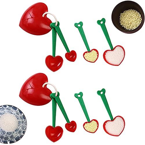 Juego de Cucharas Medidoras de Plástico Cucharas Dosificadoras de Café Cucharas de Medidoras de Cocina con Separador de Huevos en Forma de Corazón para Azúcar Sal Té Leche en Polvo Proteína en Polvo