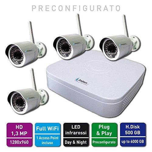 Jenimex Kit Videosorveglianza IP Wireless : NVR + 4 Telecamere IP Wireless 1,3 MP HD + 1 AP ; inclusi nel prezzo preconfigurazione, training e supporto tecnico del produttore per 12 mesi