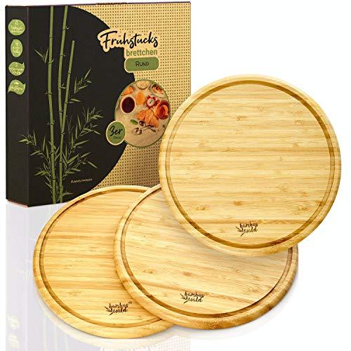 bambuswald© ökologische Frühstücksbrettchen Ø25cm im 3er Set | Frühstücksbretter aus 100{d0890173b4dc89a66c6344f81d72d3550d1e1fc2f1b033033275e326c780979e} Bambus - messerschonende &pflegeleichte Küchenbretter! Schneidebretter Servierbretter Holzbrett Brotzeitbrett
