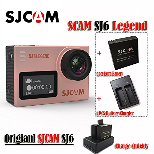 16GB TF Card+ SJCAM SJ6 Legend 2' Touch Screen Remote Action Helmet Sports DV Camera Waterproof 4K 24FPS NTK96660 RAW w/Front Screen+1pcs Extra Battery+1pcs Double Battery Charger(Golden Rose)