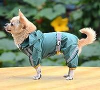 単層反射犬のレインコート防水ジャケット反射犬服ペットレインコート(グリーン XXL)