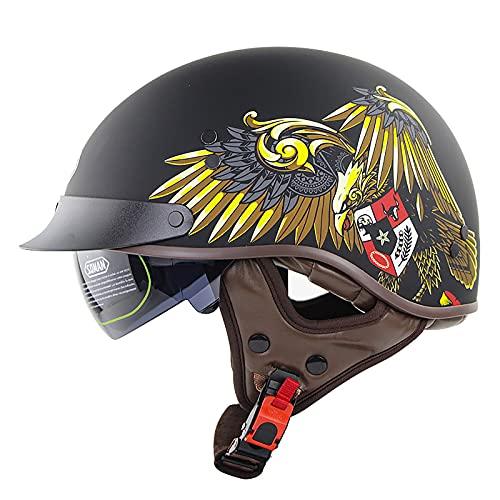Medio casco de motocicleta, medio casco retro personalizado, casco de moto cruiser scooter para hombres y mujeres, certificación ECE/DOT adecuada 3,M