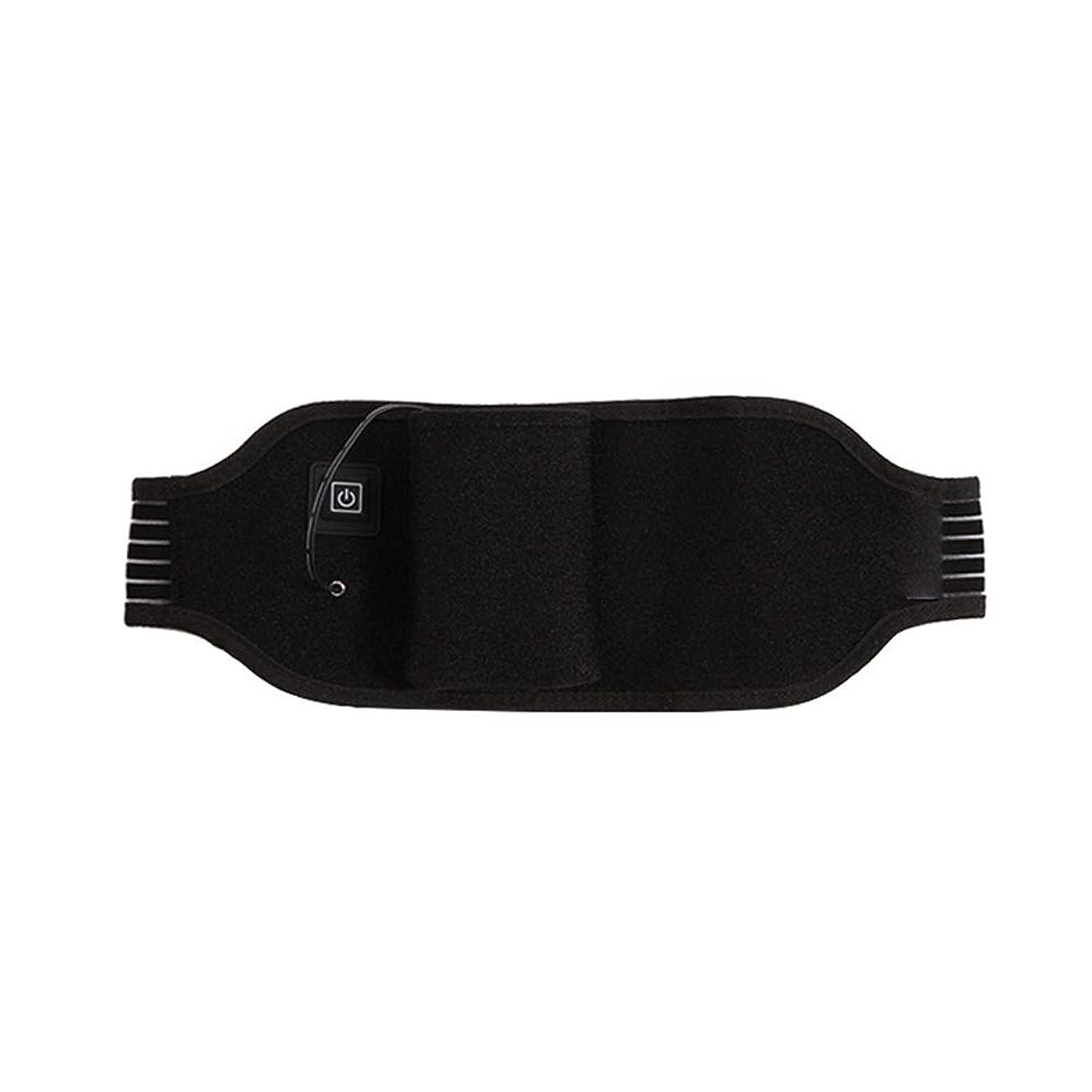 石鹸のれん郵便局ポータブルけいれん月経治療の痛みを軽減するための加熱ウエストベルト温水戻るラップサポート調節可能なブレースラスティング 腰痛保護バンド (色 : ブラック, サイズ : FREE SIZE)