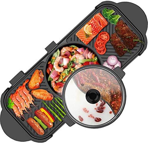 GJJSZ Barbecue à Double contrôle Hot Pot Multi-Fonction Friture Et Cuisson Ménage Coréen sans Fumée Antiadhésive Hot Pot Électrique Séparable Shabu-shabu