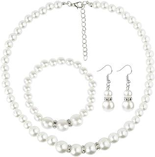 Set di gioielli con collana, braccialetto e orecchini con perle finte, da donna, per matrimoni e feste, idea regalo, color...