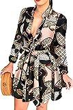 Dazzerake Vestido de mujer sexy con cuello en V profundo de manga larga, mini vestido de camisa con botones de botón, tallas grandes, A., L
