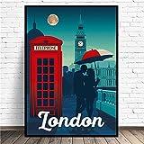 Londres Reino Unido Viajes Lienzo Arte De La Pared ImpresióN De Parejas Cuadros Poster Moderno Dormi...