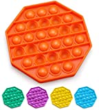 Push Pop Bubble Fidget Sensory Toy, Fidget Toys for Kids Adults, Bubble Popper Fidget Toy Stress Anxiety Relief Toys for ADHD Autism Special Needs, Fidget Popper Stress Reliever Toys - Octagon Orange