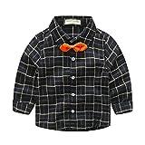 YuanDian Niño Otoño Manga Larga Camisa Cuadro Pajarita Infantiles Botón Blusas Camisetas 3-8...