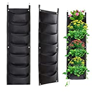 Vertical Hanging Planter with 7 Pockets Wall Garden Mount Planter Pouch for Herbs Flowers Yard Decoration Planting Bag (7 Pocket, Black)