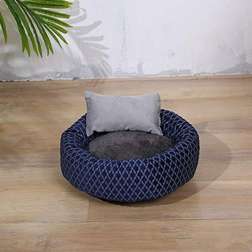 xmwm Summer Cat Litter Cat Bed Plus Velvet Cat Sleeping Pad Sleeping Pad Villa Cat Supplies Pet Kennel Four Seasons General,Blue Spots Round Pillow +,M 40 * 32 * 14 Diameter