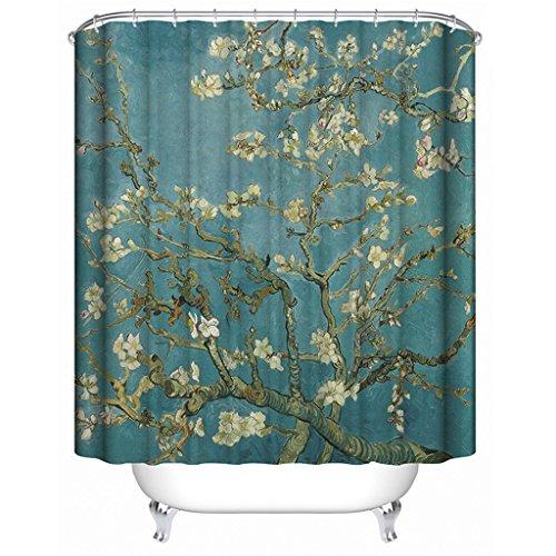 Eureya Duschvorhang, 100prozent Polyester Stoff Badspiegel Bad Deko Wasserdicht Dusche Gardinen, Apricot Tree, 180x200cm