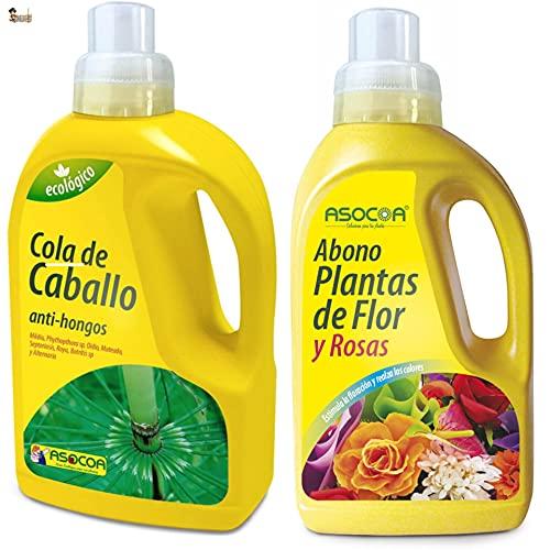 BricoLoco Pack Abono y fungicida rosales. Tratamiento foliar completo. 1 lt. Fungicida...