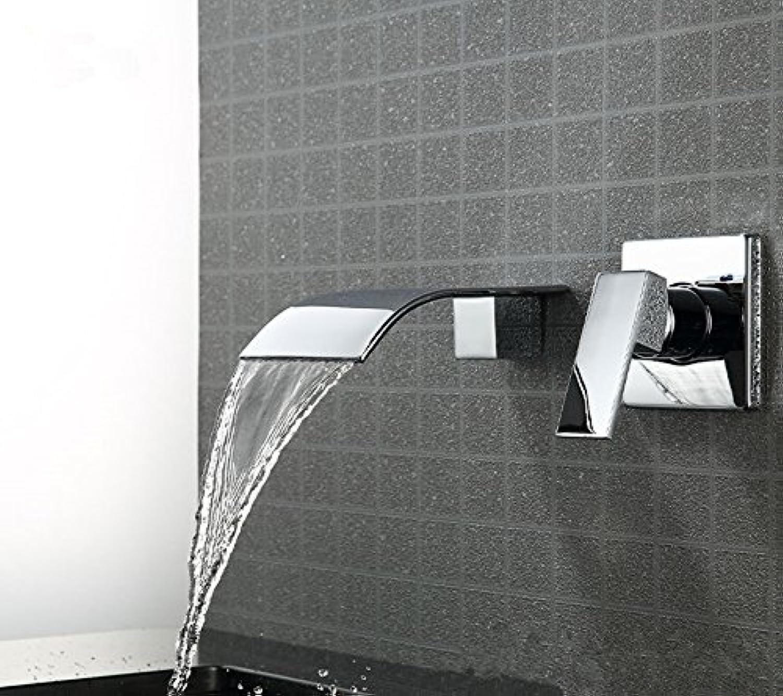 Bijjaladeva Wasserhahn Bad Wasserfall Mischbatterie Waschbecken Waschtisch Armatur für BadezimmerBündige Montage Waschbecken Wasserhahn Drei Loch in der Wand und Kaltes Wasser