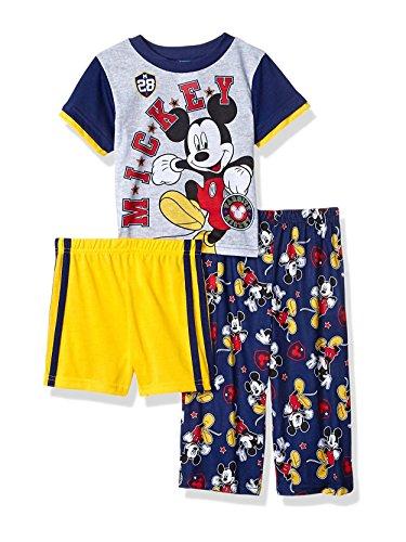 Disney Boys' Toddler 3-Piece Pajama Set, Mickey Mouse - Navy, 2T
