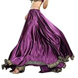 ROYAL SMEELA Belly Dance Skirt Belly Dance Costume for Women Belly Dancing Skirts Slit Maxi Skirt Satin Belly Dancing Outfit Purple