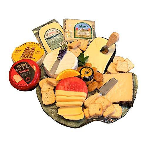 Gourmet Cheese Sampler - Cheese & Crackers 2 LB. Assortment - Brie, Manchego, Gouda & Horseradish Cheddar Cheeses - Dalmatia Fig Spread & Crackers
