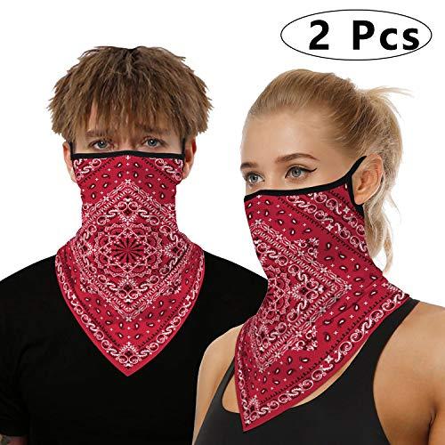 onehous Bandana Gesichtsmaske für Damen/Herren, Unisex Multifunktionstuch Outdoor Maske Schal Sturmhaube mit Ohrschlaufen, Radfahren Dehnbare Atmungsaktive Maske Waschbar 2 Stück