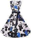 Bbonlinedress 50s Vestidos Vintage Retro Rockabilly Clásico BlueFlower XS