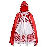 IWEMEK Disfraz de Caperucita Roja Vestido de Princesa tutú con Capa para Niña Bebe Infantil Disfraces de Carnaval Halloween Fiesta Cumpleaños Navidad Trajes Fancy Dress Up Rojo + Blanco 5-6 Años