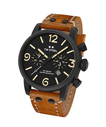 TW Steel Orologio Cronografo Quarzo Unisex con Cinturino in Pelle MS33
