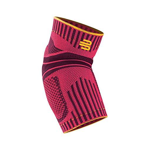 Bauerfeind 1 Unisex Ellenbogen-Sportbandage, Rechts/links tragbar, Für Ball-, Rückschlag- und Leichtathletiksport, Stabilität am Ellenbogen, L/Pink, 92 g
