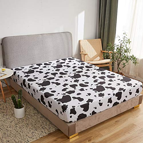Sábana bajera ajustable con estampado de vaca, 1 unidad, extra profunda, color negro y blanco (Super King, vaca)